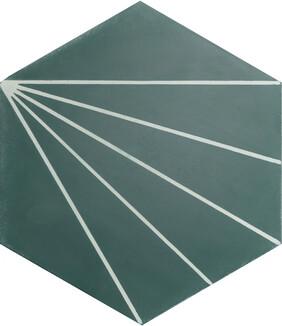 Dandelion Encaustic Tile - Bottle Green and Canvas