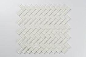Aurora Glass Mosaic -  Herringbone  - White