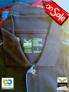 SALE (TWO ONLY) - Mens Large/XL Navy Cradle to Cradle Certified™ Polo T-Shirt