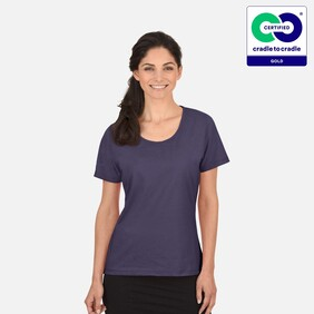 Trigema - Women's Deep Purple Round Neck 100% Organic Cotton T-Shirt - 2021