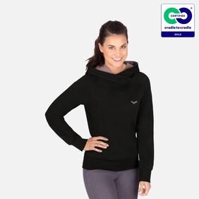 Trigema - Woman's Fashionable Hoodie from 100% Organic Cotton (kbA) Black-C2C (2021)
