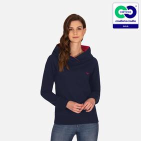 Trigema - Woman's Fashionable Hoodie from 100% Organic Cotton (kbA) Navy-C2C (2021)