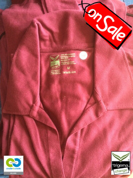 SALE (ONE ONLY) - Woman's Cradle to Cradle Certified™ Medium Sangria Polo T Shirt