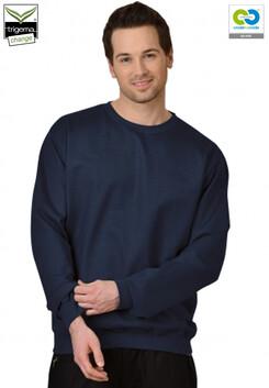 Trigema - Men's Long Sleeve Sweat Shirt - 100% Organic Cotton - Navy - 2019