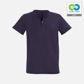 Mens Deep Purple round neck buttoned T-Shirt - 2019