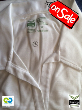 SALE (TWO ONLY) - Womans L & XL Cradle to Cradle Certified™ White Polo T Shirt