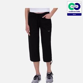 Women's Black Knee Length Organic Cotton Trousers -  2021