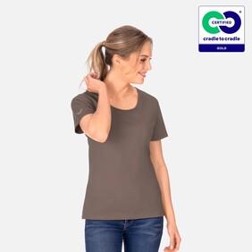 Woman's Round Neck T-Shirt - Camel - 2021