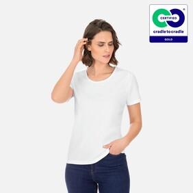 Woman's White Round Neck T-Shirt - 2021