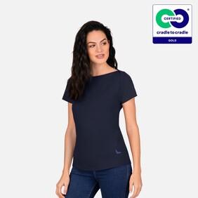 Trigema - Chic T-shirt in eco quality Navy-C2C - 100% Organic Cotton - 2021