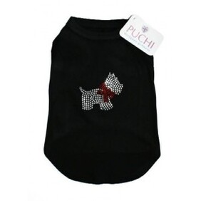 Black Tshire Diamonte Scotty Dog size XL Cocker