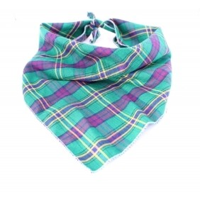 Green & Purple Plaid Bandana size S/M