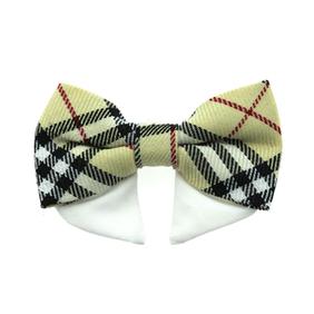 Universal dog bow tie - tan plaid type 2