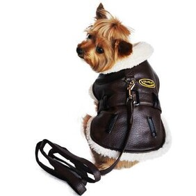 Brown and Black Faux Leather Bomber Dog Coat Harness and Leash size S