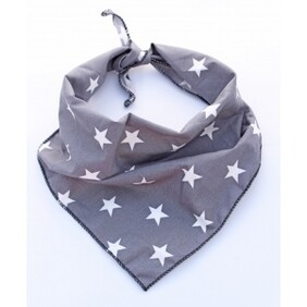 "Value range - grey star dog bandana - M/L - neck size 17-25"""
