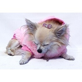 Faux fur Jacket is in a beautiful powder pink with a subtle sparkly fleck size Medium Yorkie