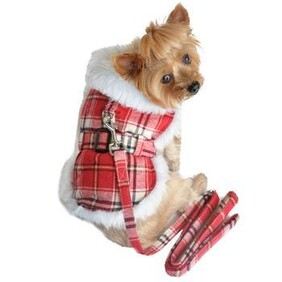 Plaid Fur-trimmed dog harness coat red and white size 2X-Large