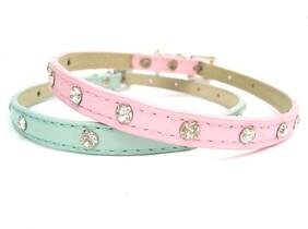 "Baby pink diamonte dog collar ideal for tiny dog size medium 11 – 14"""