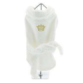 White Gold Crown Cotton Dog Bathrobe size small