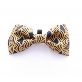 Golden navy scales bow tie handmade