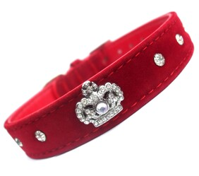 """Red Royal Velvet Crown dog Collar Majestic crown size Available in size: 12½ - 14½ """""""