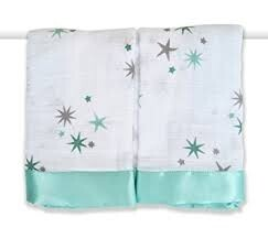 Baby muslin and silk gift green stars