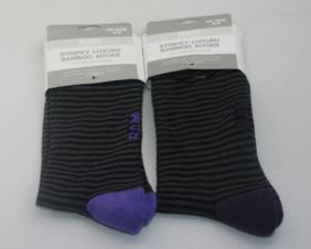 Bamboo Sock Tins : Grey & Purple Stripe Socks