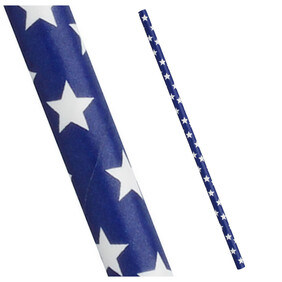 Christmas Blue with White Stars 197mm x 6mm Biodegradable Paper Drinking Straws