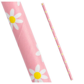 Pink with Yellow and White Daisies Biodegradable Paper Drinking Straws - Size: 197mm x 6mm (Regular)