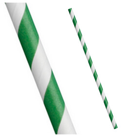 Bulk Buy Green and White Stripe Biodegradable Paper Drinking Straws - Size Options
