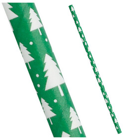 Christmas Forest Green with white Snowflakes 197mm x 6mm Biodegradable Paper Drinking Straws 25 Pack