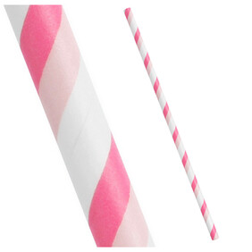 Bounce Back 2,500 Two Tone Pink and White Stripe Biodegradable Paper Drinking Straws (Regular)