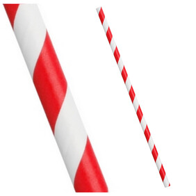 Bright Red and White Stripe Biodegradable Paper Drinking Straws 197mm x 6mm
