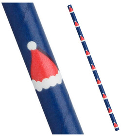 Christmas Blue With Santa Hats 197mm x 6mm Biodegradable Paper Drinking Straws 25 Pack