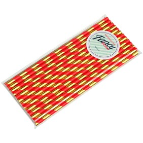 Christmas Shiny Gold and Red Stripe 197mm x 6mm Biodegradable Paper Drinking Straws 25 pack