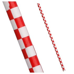 Red and White Check Biodegradable Paper Drinking Straws - Size: 197mm x 6mm (Regular)