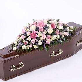 Rose and Eryngium casket spray