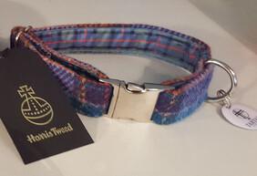 Harris Tweed Collar - Blue & Purple Check