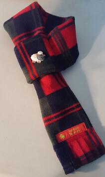 Fleece Scarf - Red, Navy & Green Check
