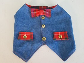 Denim Waistcoat with Tartan Detailing