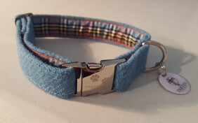 Harris Tweed Collar - Pale Blue