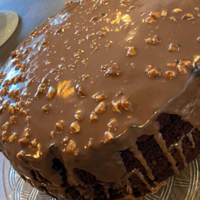 Chocolate Cake covered in Hazelnut and Milk Chocolate ganache. * out of stock *