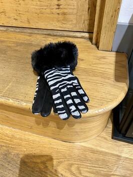 Animal Print Faux Fur Trim gloves