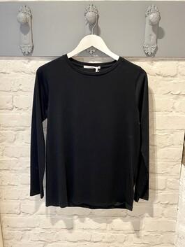 Long Sleeve Black Crew Neck T-shirt (Layla)