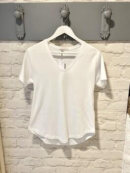 V-Neck White T-shirt (Dotty)