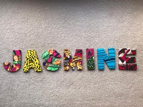 Fabric Covered Wooden Letters - JASMINE