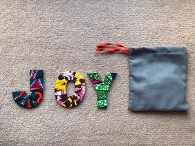 Fabric Covered Wooden Letters - JOY
