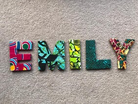 Fabric Covered Wooden Letters - EMILY