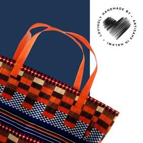 Orange and Blue Shopping Bag