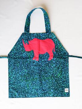 Kids' Apron Rhino Blue Floral